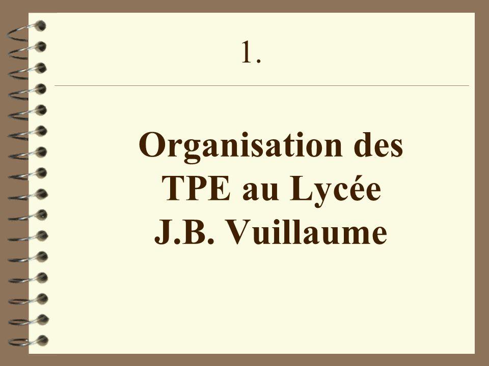 Organisation des TPE au Lycée J.B. Vuillaume