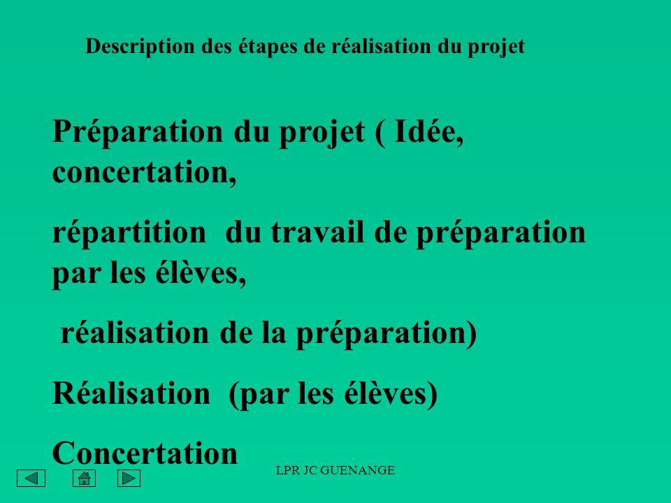 Préparation du projet ( Idée, concertation,