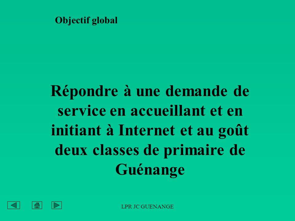 Objectif global Répondre à une demande de service en accueillant et en initiant à Internet et au goût deux classes de primaire de Guénange.
