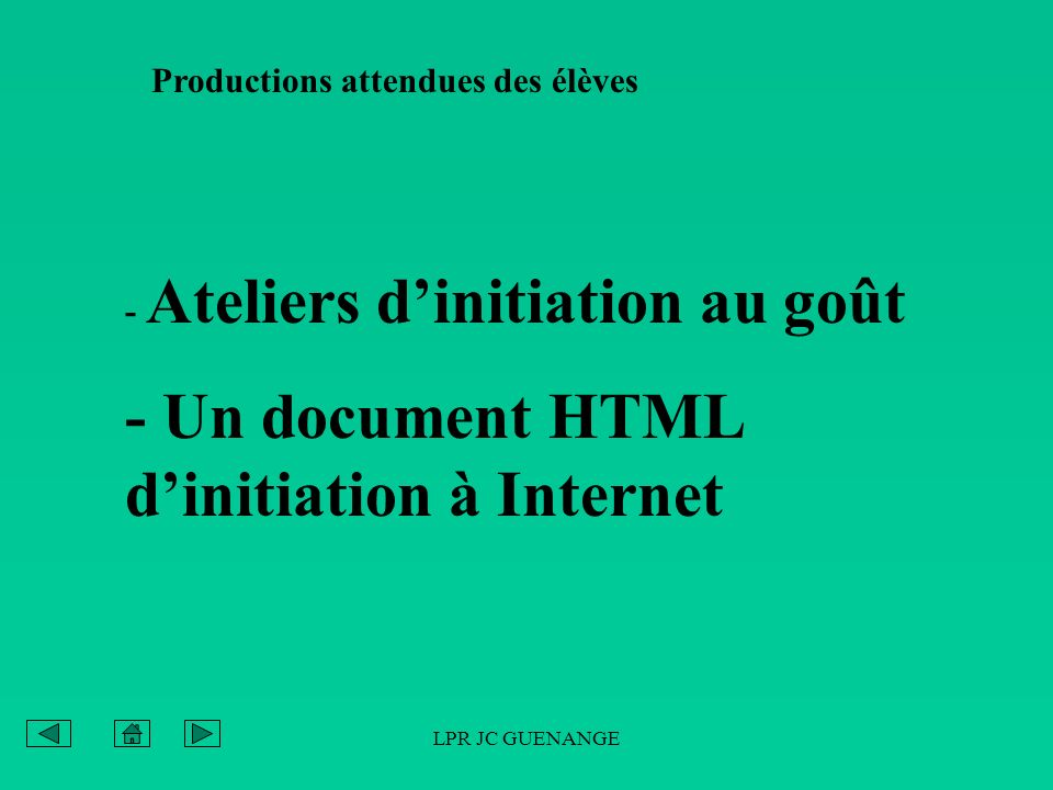 - Un document HTML d'initiation à Internet