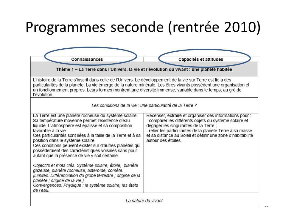 Programmes seconde (rentrée 2010)