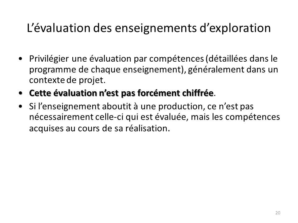L'évaluation des enseignements d'exploration