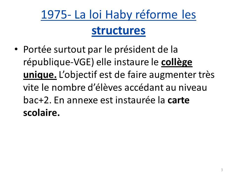 1975- La loi Haby réforme les structures