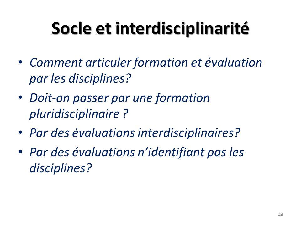 Socle et interdisciplinarité