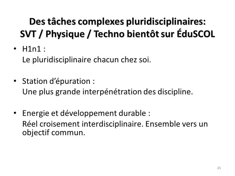 Des tâches complexes pluridisciplinaires: SVT / Physique / Techno bientôt sur ÉduSCOL