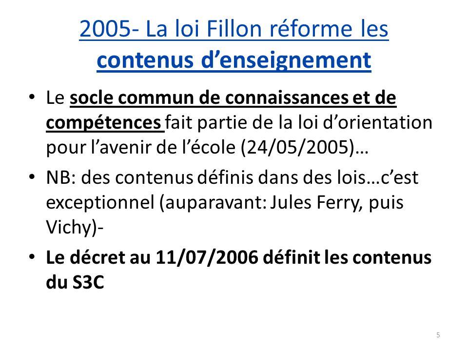 2005- La loi Fillon réforme les contenus d'enseignement