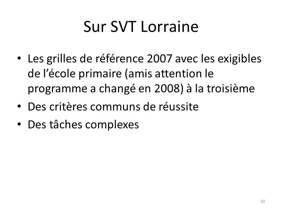 Sur SVT Lorraine Les grilles de référence 2007 avec les exigibles de l'école primaire (amis attention le programme a changé en 2008) à la troisième.