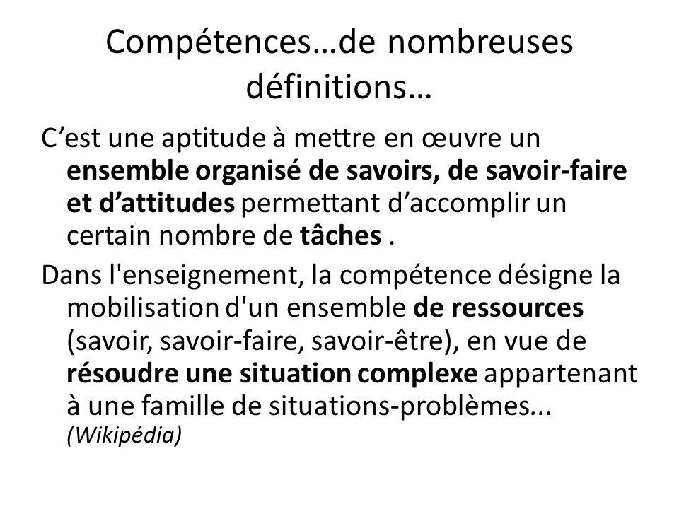 Compétences…de nombreuses définitions…