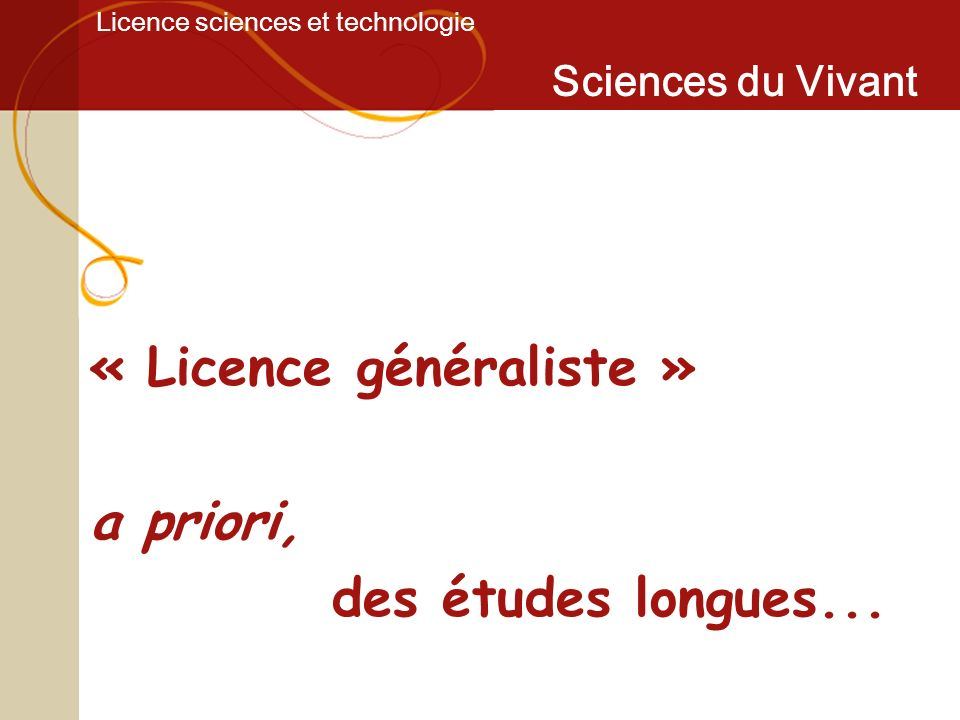 Licence Sciences du Vivant