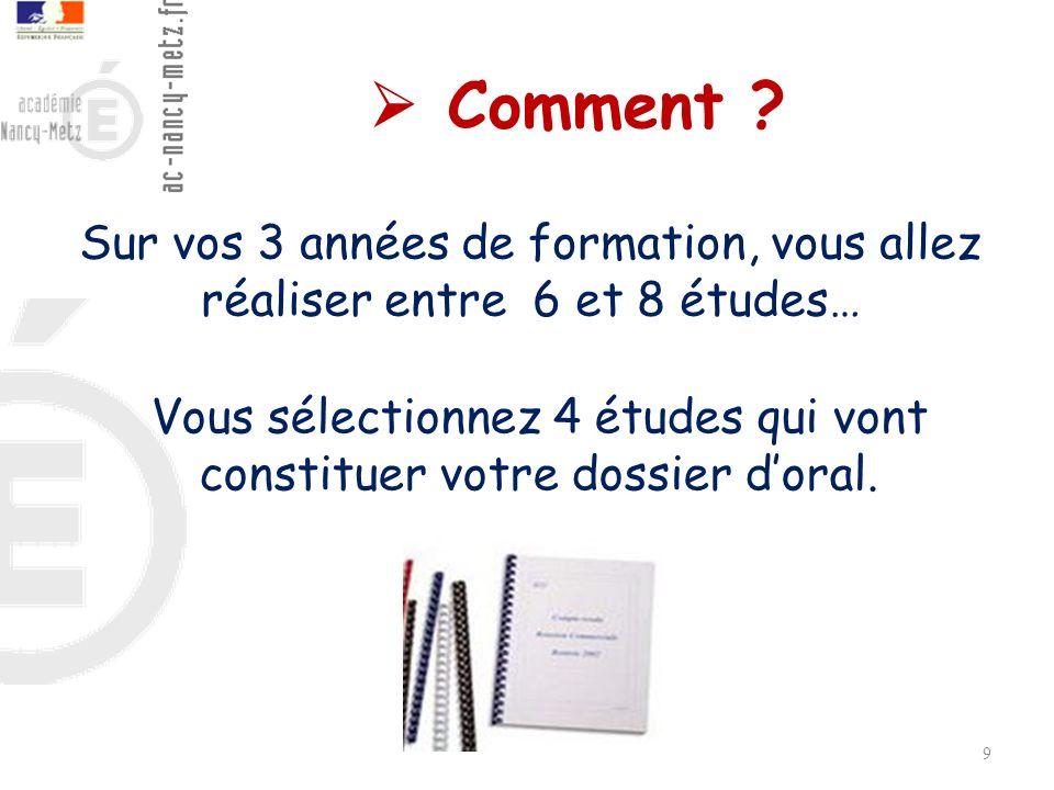 Vous sélectionnez 4 études qui vont constituer votre dossier d'oral.