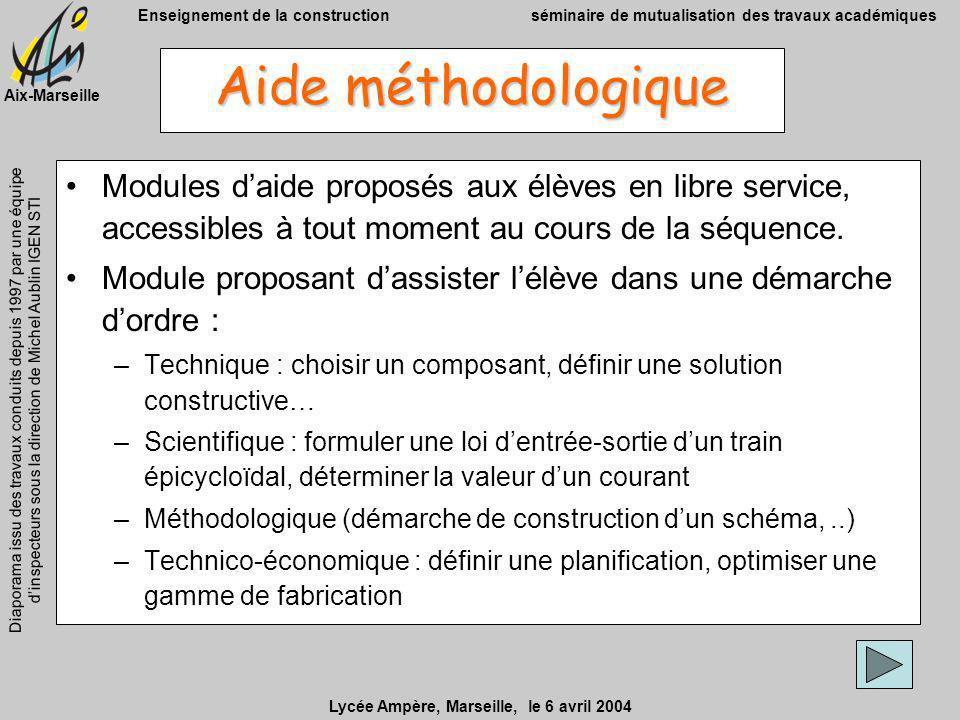 Aide méthodologique Modules d'aide proposés aux élèves en libre service, accessibles à tout moment au cours de la séquence.