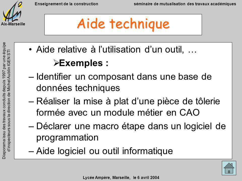 Aide technique Aide relative à l'utilisation d'un outil, … Exemples :