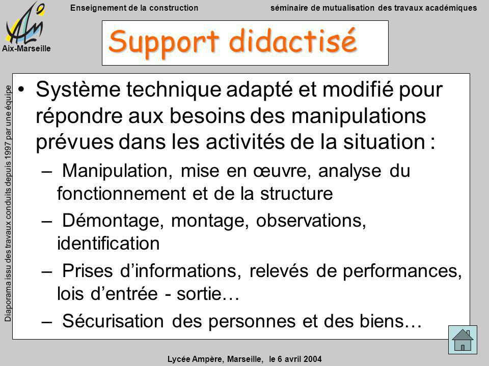 Support didactisé Système technique adapté et modifié pour répondre aux besoins des manipulations prévues dans les activités de la situation :
