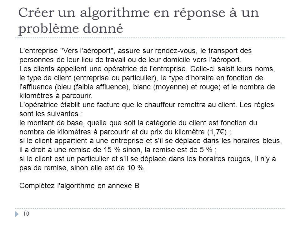 Créer un algorithme en réponse à un problème donné