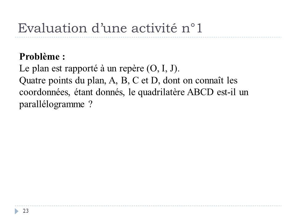 Evaluation d'une activité n°1