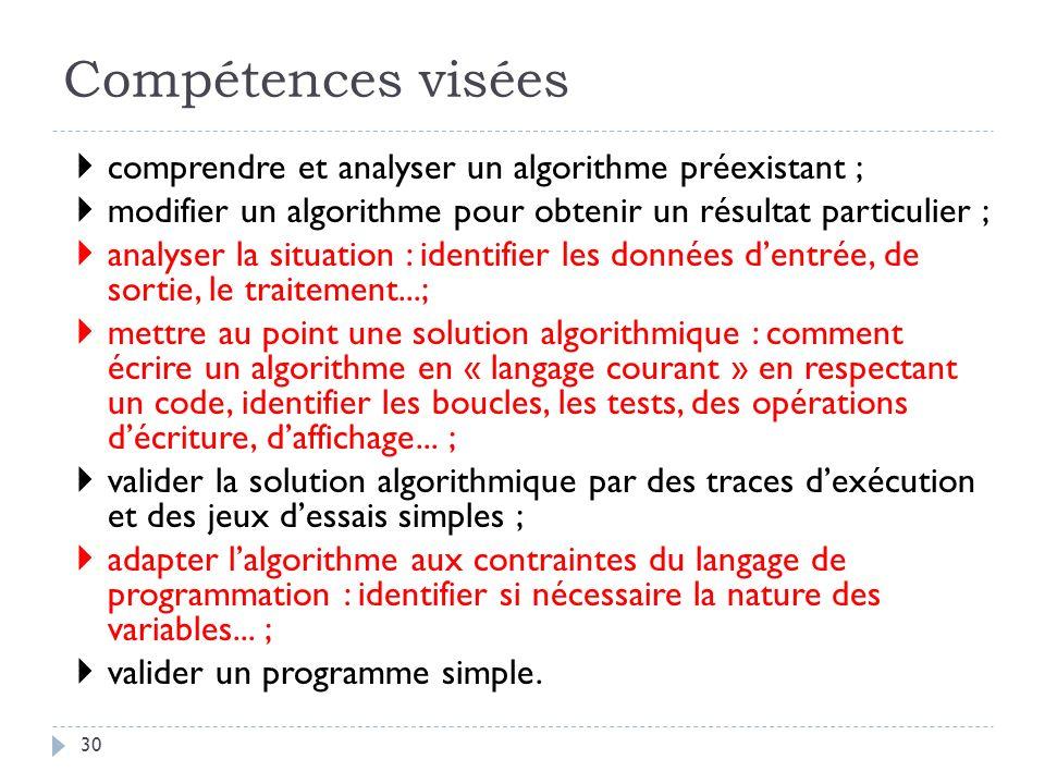 Compétences visées comprendre et analyser un algorithme préexistant ;