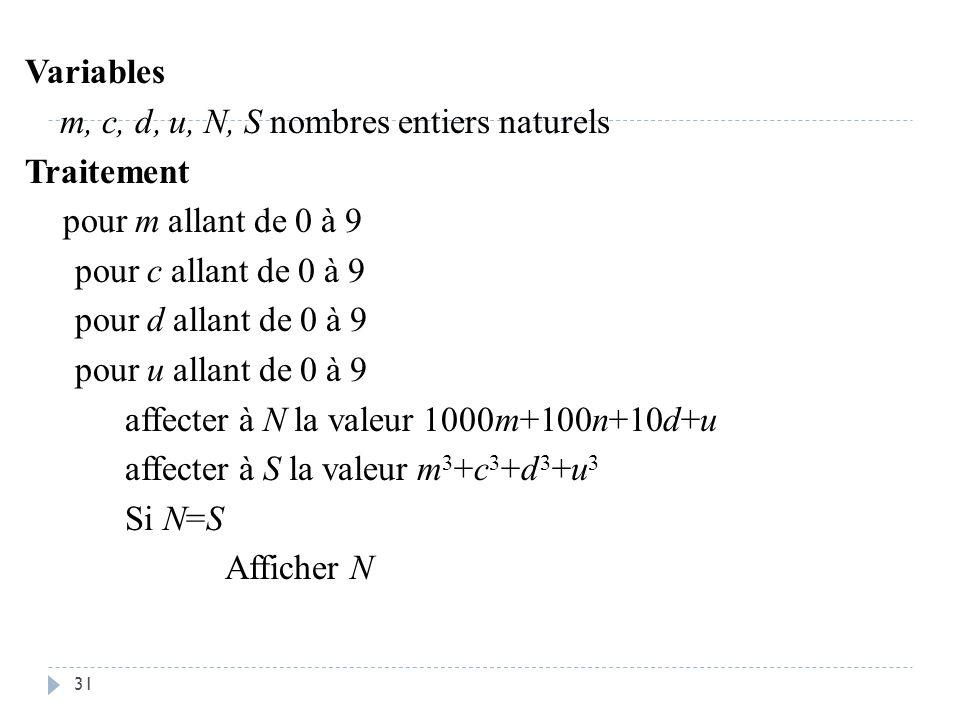 Variables m, c, d, u, N, S nombres entiers naturels Traitement pour m allant de 0 à 9 pour c allant de 0 à 9 pour d allant de 0 à 9 pour u allant de 0 à 9 affecter à N la valeur 1000m+100n+10d+u affecter à S la valeur m3+c3+d3+u3 Si N=S Afficher N