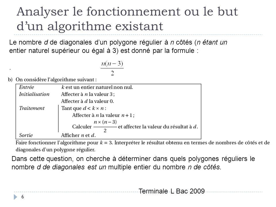 Analyser le fonctionnement ou le but d'un algorithme existant
