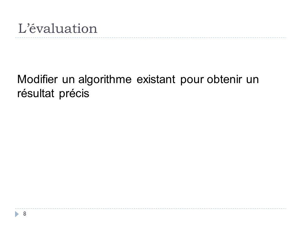L'évaluation Modifier un algorithme existant pour obtenir un résultat précis.