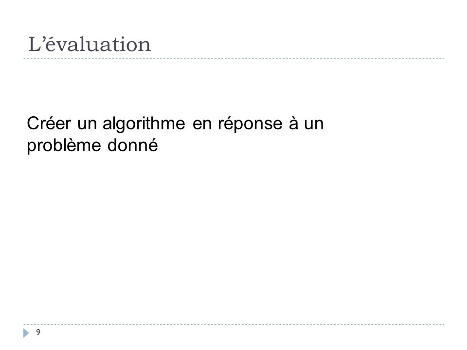 L'évaluation Créer un algorithme en réponse à un problème donné