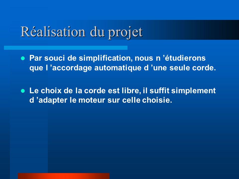Réalisation du projet Par souci de simplification, nous n 'étudierons que l 'accordage automatique d 'une seule corde.