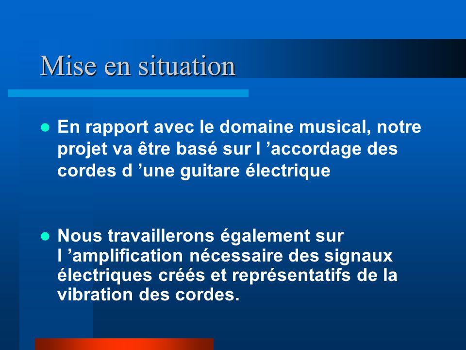 Mise en situation En rapport avec le domaine musical, notre projet va être basé sur l 'accordage des cordes d 'une guitare électrique.