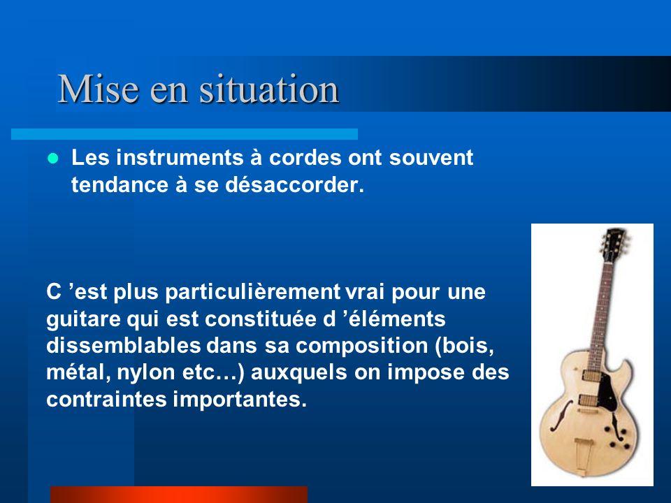Mise en situation Les instruments à cordes ont souvent tendance à se désaccorder.