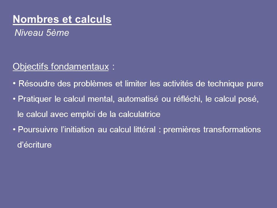 Nombres et calculs Niveau 5ème Objectifs fondamentaux :