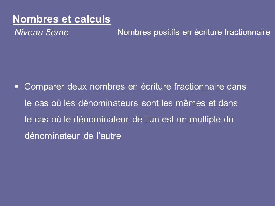 Nombres et calculs Niveau 5ème