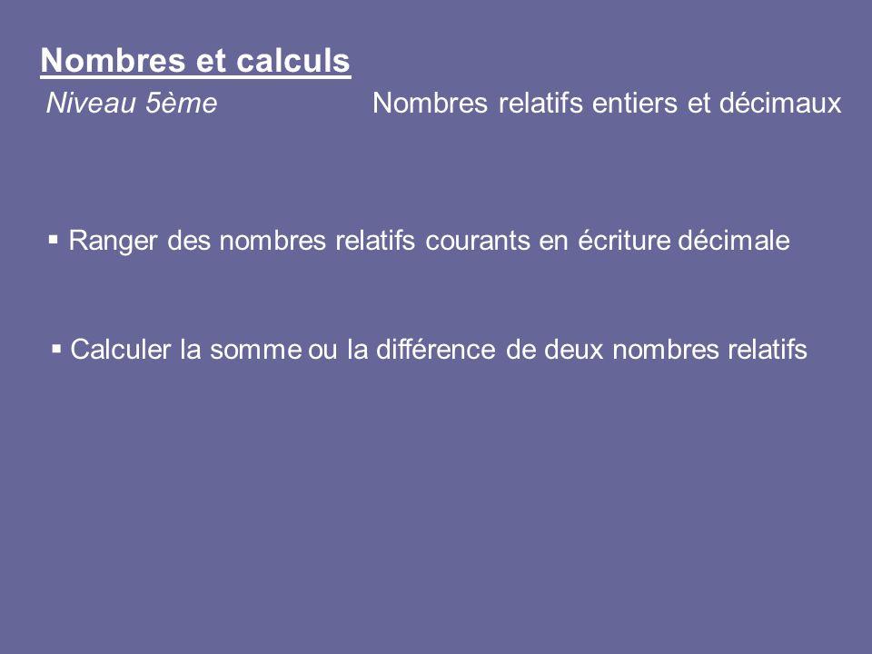 Nombres et calculs Niveau 5ème Nombres relatifs entiers et décimaux
