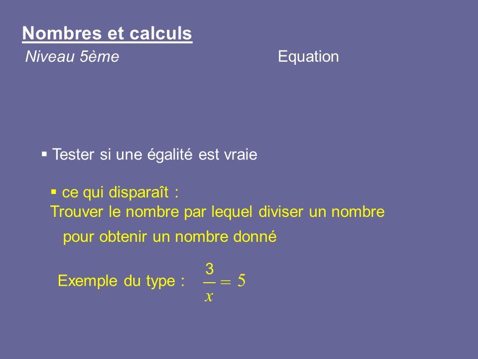= Nombres et calculs 5 x Niveau 5ème Equation