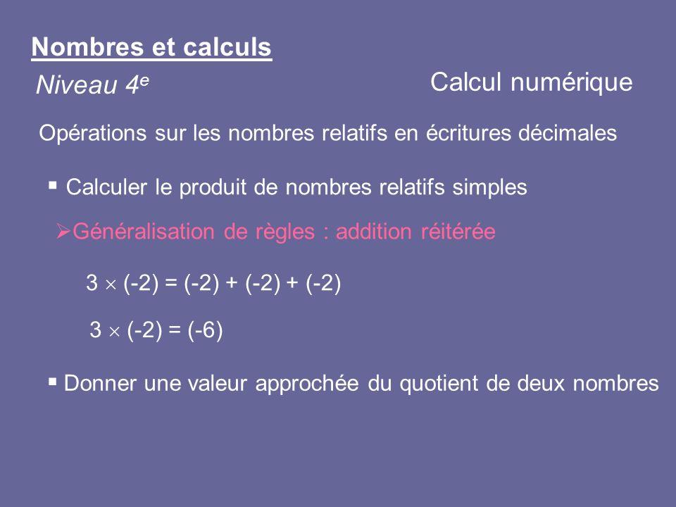 Calculer le produit de nombres relatifs simples