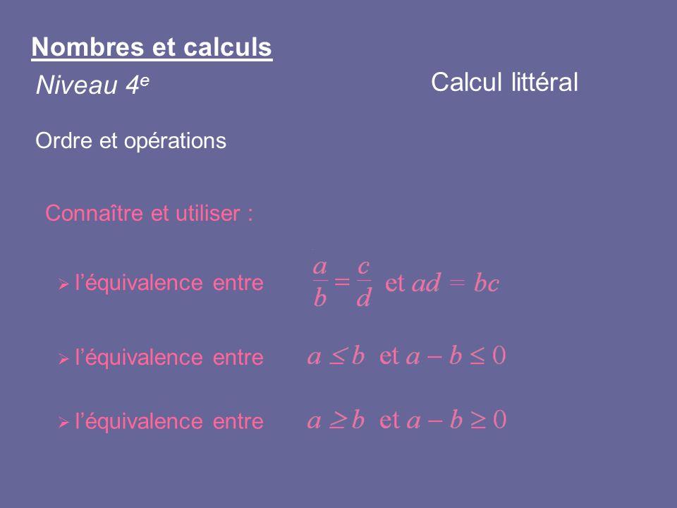 Nombres et calculs Calcul littéral Niveau 4e Ordre et opérations