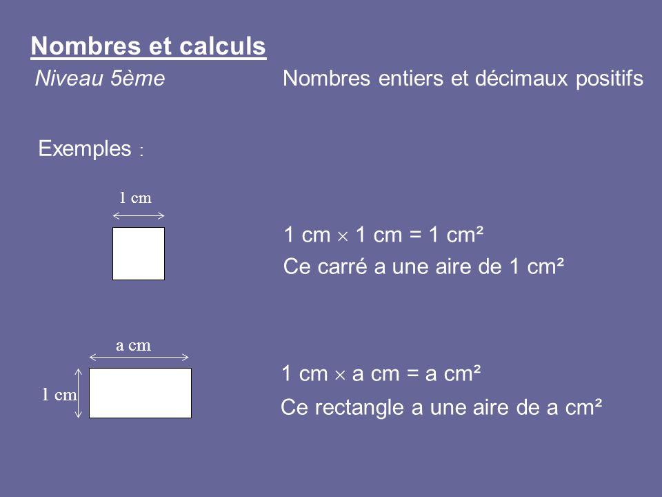 Nombres et calculs Niveau 5ème Nombres entiers et décimaux positifs