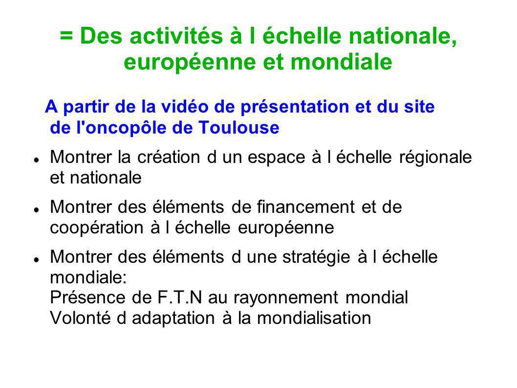 = Des activités à l échelle nationale, européenne et mondiale