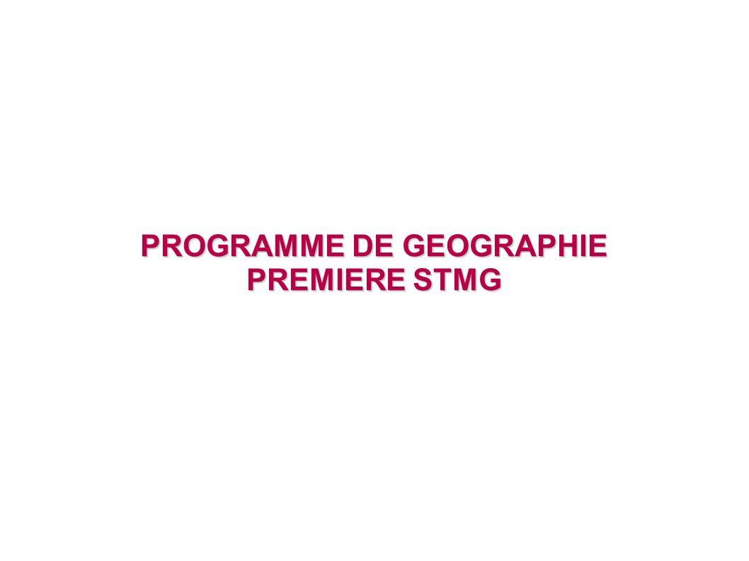 PROGRAMME DE GEOGRAPHIE PREMIERE STMG