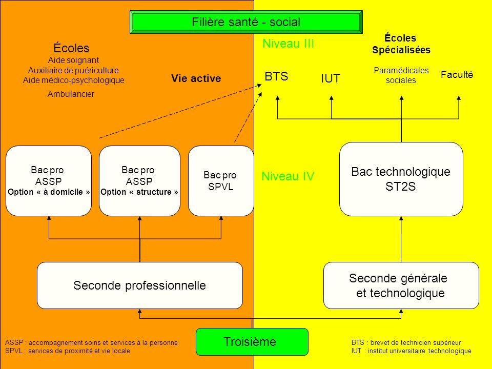 Seconde professionnelle Seconde générale et technologique