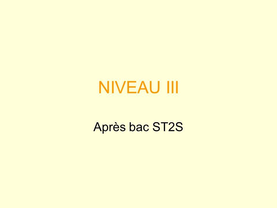 NIVEAU III Après bac ST2S