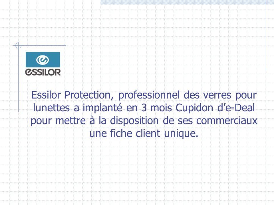 Essilor Protection, professionnel des verres pour lunettes a implanté en 3 mois Cupidon d'e-Deal pour mettre à la disposition de ses commerciaux une fiche client unique.