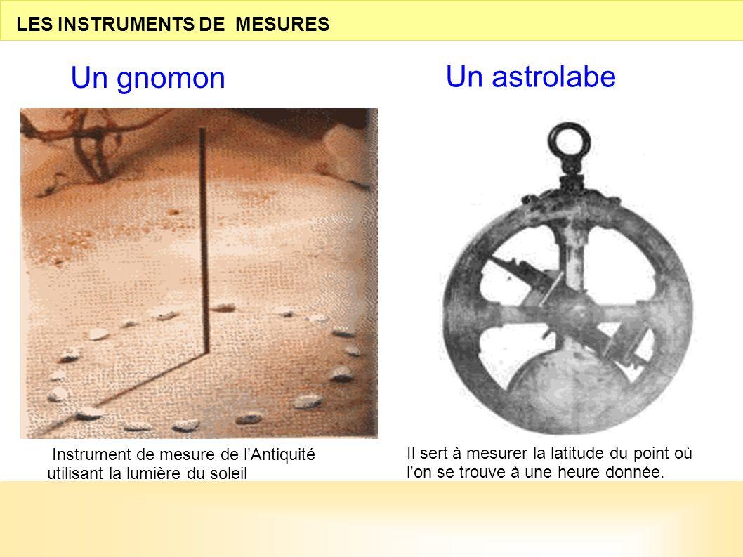 Un gnomon Un astrolabe LES INSTRUMENTS DE MESURES