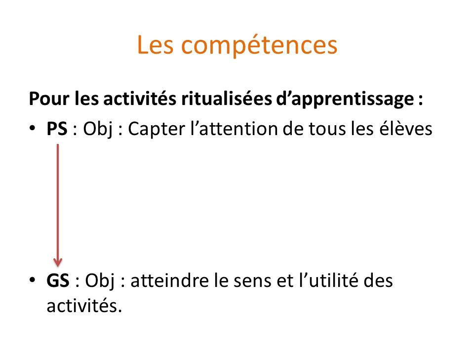 Les compétences Pour les activités ritualisées d'apprentissage :