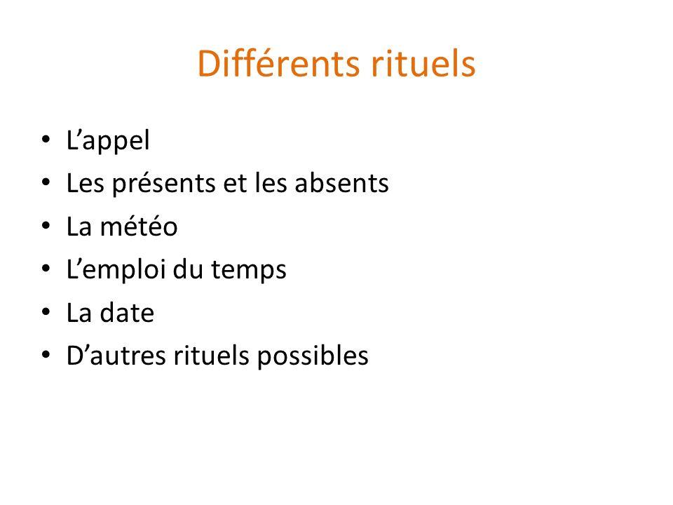 Différents rituels L'appel Les présents et les absents La météo