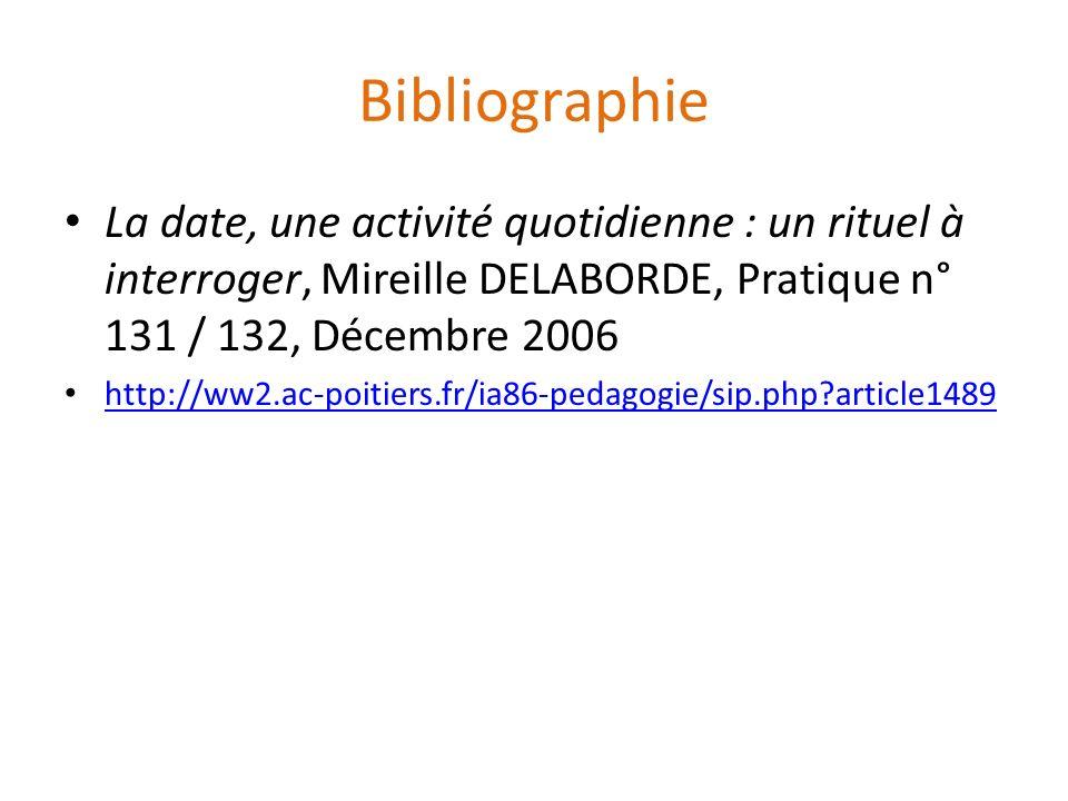 Bibliographie La date, une activité quotidienne : un rituel à interroger, Mireille DELABORDE, Pratique n° 131 / 132, Décembre 2006.