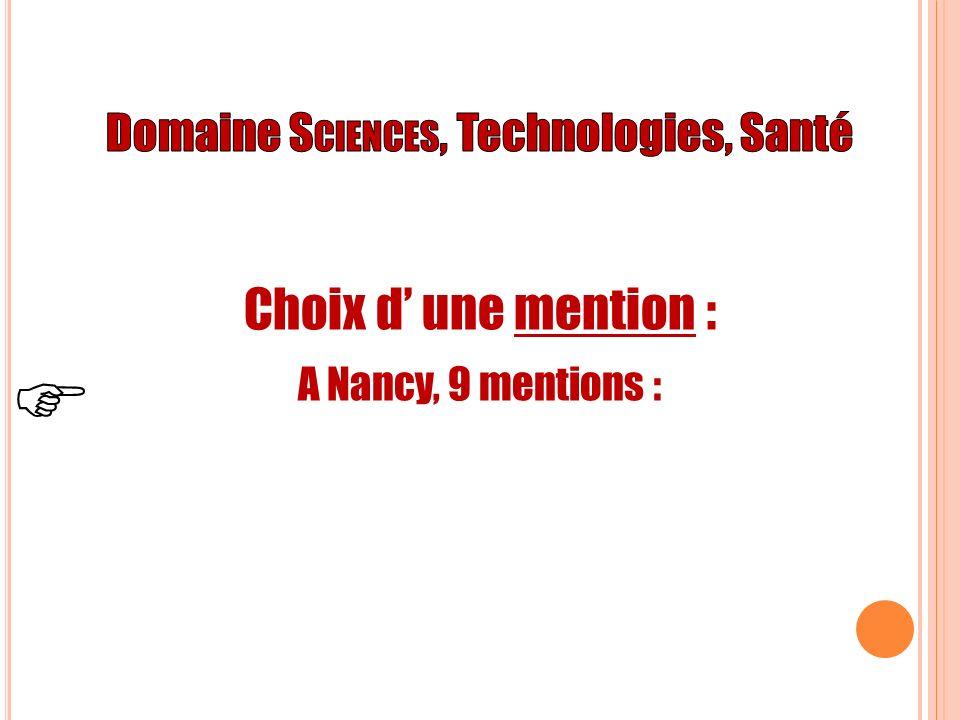 Domaine Sciences, Technologies, Santé