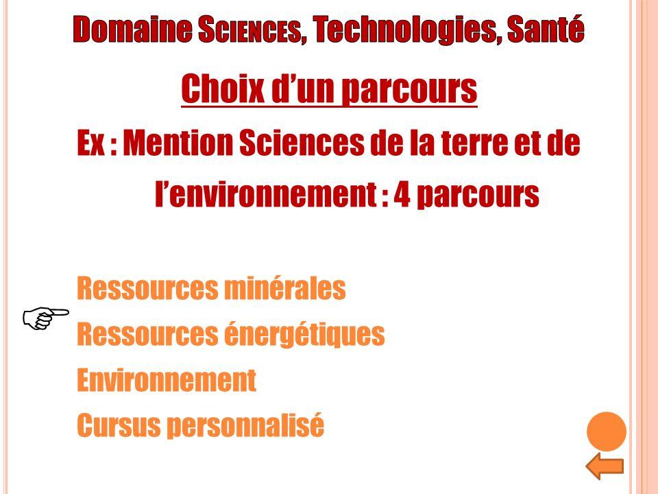 F Choix d'un parcours Domaine Sciences, Technologies, Santé