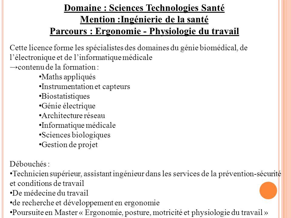 Domaine : Sciences Technologies Santé Mention :Ingénierie de la santé