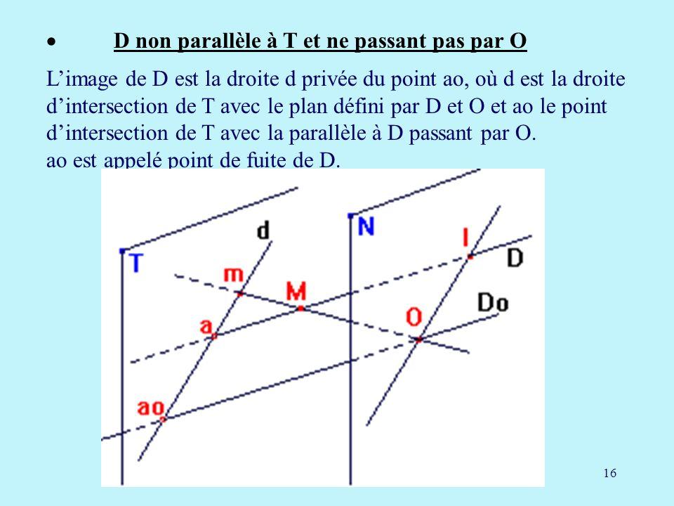 · D non parallèle à T et ne passant pas par O