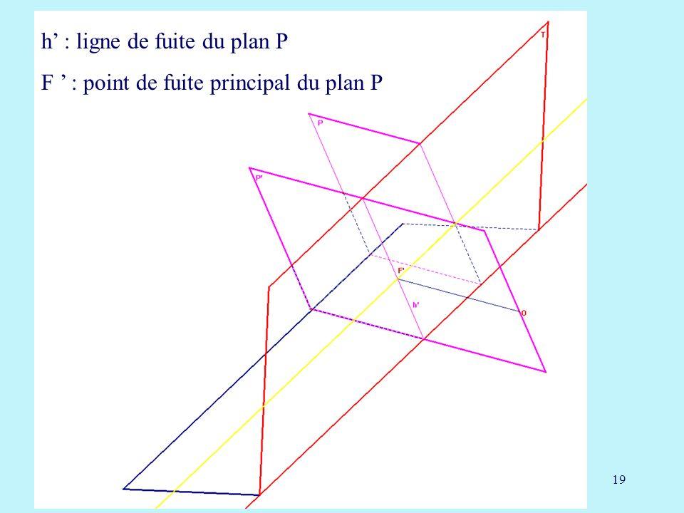 h' : ligne de fuite du plan P