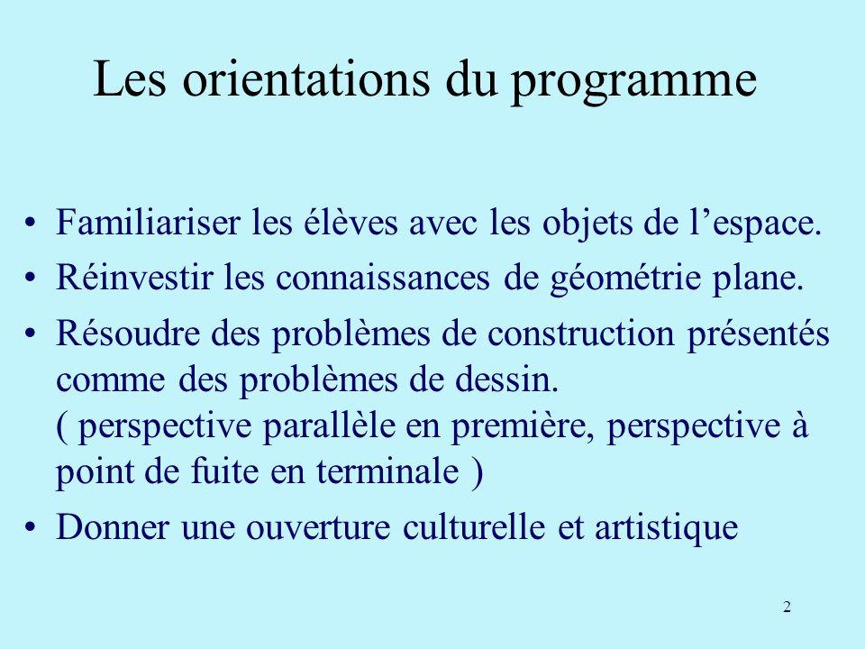 Les orientations du programme