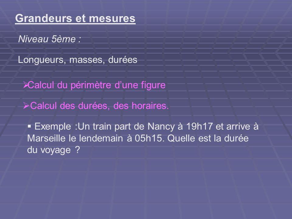 Grandeurs et mesures Niveau 5ème : Longueurs, masses, durées